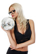sensual young woman holding disco ball