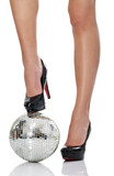 high heel with disco ball