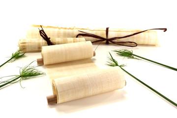 vergilbte Papyrusrollen mit Papyrus