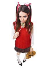 bad schoolgirl with lollipop