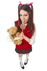 bad schoolgirl with lollipop and  teddy bear