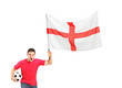 Euphoric fan holding a soccer ball and English flag