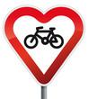 Schild Herz fahrradfreundlich