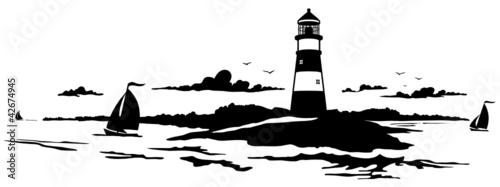 Grafik Leuchtturm mit Meer und Segelbooten