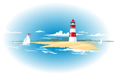Hintergrund Leuchtturm mit Segelbooten und Meer