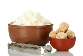 different types of sugar in bowls isolated on white close-up