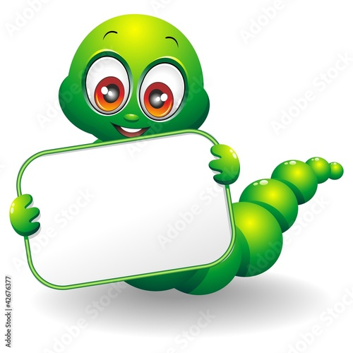 Verme Cartoon con Pannello-Cartoon Worm with Panel-Vector