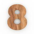 3d Font Wood Number 8