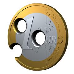 1 Euro Münze zerschossen 3D