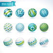 Set of vector abstract globe icons