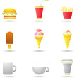 ice cream, coffee and fast food icons
