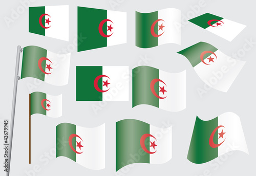 set of flags of Algeria vector illustration