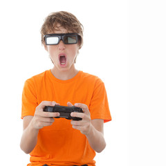 child playing 3d video game