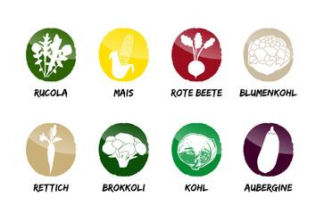 Gemüse Buttons Vektor