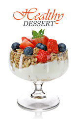 Healthy dessert with muesly and fruits