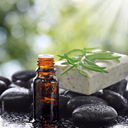 Aromatherapy concept with basalt stones and natural soap bar