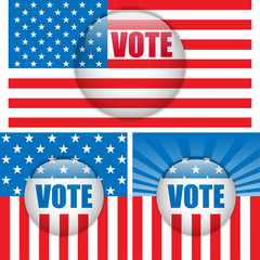 Vote Buttons. Set of three with Background