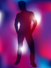 Sexy Boy Silhouette on Colorful Background