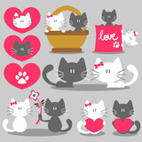 Two cats romantic valentine set