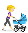 Young mother walking with a blue baby carriage