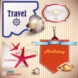 Set of  Holiday Banners, Labels, Tags with shells and place for