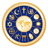 World of Faith around earth map, 12 global religions