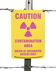 Caution Radioactive Contamination Area Sign Isolated
