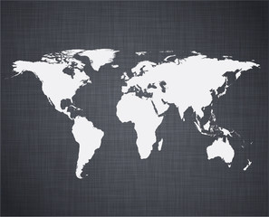 White world map.