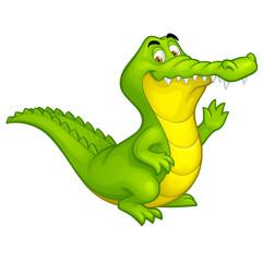 Vector cartoon happy fun crocodile character