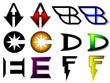 Superhero or athletics symbols a-f