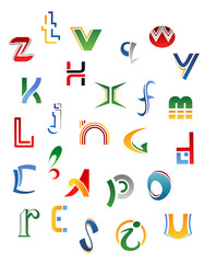 Set of symbols, letters and icons