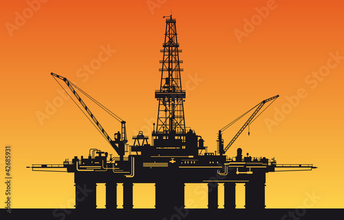 Oil derrick in sea