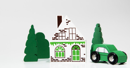 haus, auto und grüne Bäume