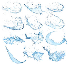 High resolution water splashes collection on white background