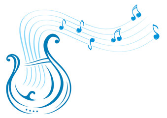Design with music notes and lyre on illustration