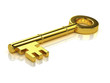 3d Gold key on reflective surface