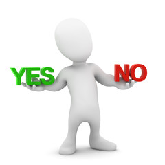 3d Little man choose between yes and no