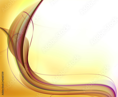 Pink fractal wave on gold background