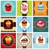 Fototapety Vintage frame with cupcake set
