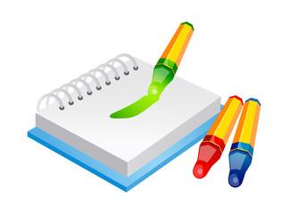 vector icon crayon and sketchbook