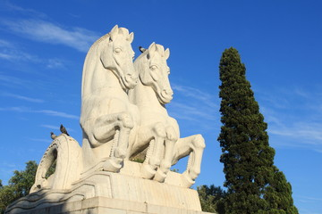 Statue of two horses in Lisbon, Portugal
