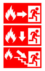 Vector fire safety signs