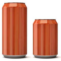 Orange blank can isolated on white background