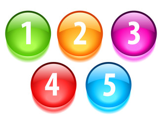 Round glossy number buttons, vector illustration