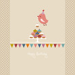 Flying Bird 10 Cupcakes Bunting Retro Colors Beige Dots