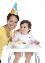 Mother and baby birthday party