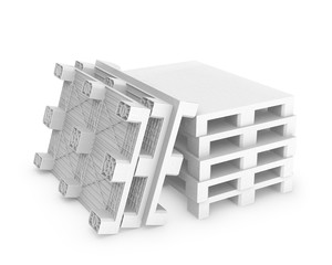 Stack of white plastic pallets