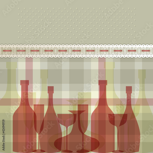 Menu con bottiglie e bicchieri - Menu with bottles and glasses