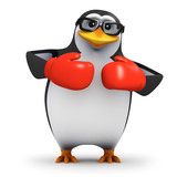 3d Penguin in glasses wears red boxing gloves