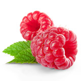 Fototapety raspberries with leaves isolated on white background